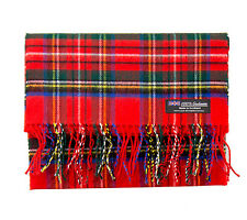 100% CASHMERE Scarf Red Green Check Plaid Warm Graham SCOTLAND Wool Unisex D316