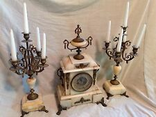 French Mantle Clock 19th Century Antique with matching Candelabras!