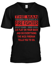 Lie On Your Back And Do What The Fireman Says Firefighter Mens V-neck T-shirt