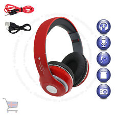 Wireless Foldable Bluetooth Stereo Red Headphone Handsfree Call BuiltIn Mic UKES