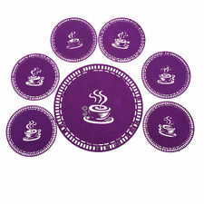 7-piece Purple Coffee Coaster Set, Placemat Tablemat Dinner Drink Party Tea Home