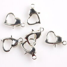 100pcs Bright Silver Tone Heart Style Charms Lobster Clasps Jewelry Connectors D
