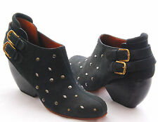 RACHEL COMEY Barbaro Studded Buckle Navy Blue Suede Ankle Boot Booties Size 10M