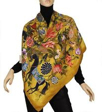 NEW GUCCI CURRENT 100% TWILL SILK FLORAL ANIMAL PRINT SHAWL WRAP SCARF