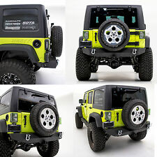 "07-17 Jeep Wrangler JK Black Rock Crawler Rear Bumper+D-Ring+2"" Hitch Receiver"