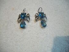 NOLAN MILLER Amazing EARRINGS Silvertone Blue Topaz Austrian Crystal NEW Free Sh