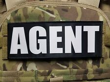 "3x8"" AGENT Black White Hook Back Morale Raid Patch Badge SWAT for Plate Carrier"