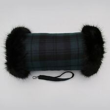 Black Watch Wool Tartan Hand Muff Warmer Gloves with Black Faux Fur Trim