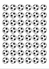 48 Black & White Football 25mm Round Edible Wafer Paper Cupcake Cake Toppers