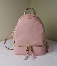 Michael Kors Pale Pink Pebble Leather Rhea Zip Medium Backpack