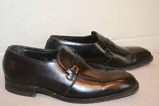 8.5 D MENS BLACK LEATHER VTG 70s BELTED LOGO FLORSHEIM LOAFER SLIP-ON SHOE