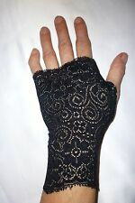 BLACK ALICE LYCRA LACE FINGERLESS GLOVES GOTHIC BRIDAL WEDDING FANCY DRESS