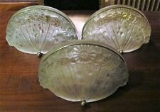 Rare Set of 3 French Art Deco GENET MICHON Glass Wall Sconces  c. 1920  Lalique
