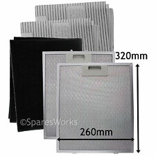 2 x UNIVERSAL Cooker Hood Metal Vent Mesh + Carbon Grease Filters 320 x 260 mm