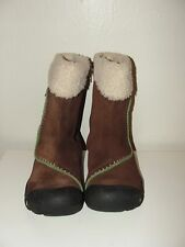 KEEN DRY LADIES NICE!!BROWN SUEDE&GREEN SHEARLING LINED ANKLE ZIP WINTER BOOTS*6