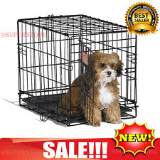 Small Dog Puppy Pet Cat Crate Cage Kennel Fold Door Travel Portable Home House