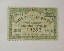 REVENUE 1959 SOUTH DAKOTA NON-RESIDENT $25.00 HUNTING LICENCE  See Pic