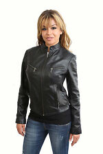Becky Fitted BIKER leather Jacket WOMENS Tan black brown Standing Collar Zip Up