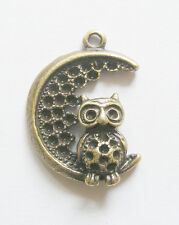 4 Antique Bronze Owl Moon Charms / Pendants  - 28mm
