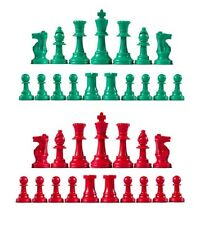 Staunton Triple Weighted Chess Pieces – Full Set 34 Green & Red -  4 Queens