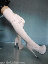 MORI PLATFORM OVERKNEE HEELS ITALY STIEFEL BOOTS STRETCH LEATHER PINK ROSA 41