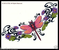 LOWER BACK TRAMP STAMP SHOULDER TEMPORARY TATTOO~PINK DRAGONFLY PURPLE FLOWERS
