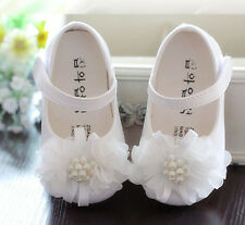 New Baby Girls White Christening Party Shoes 18-21 Months