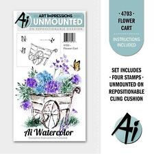 New ART IMPRESSIONS RUBBER STAMP Cling MINI watercolor set 4 flower cart