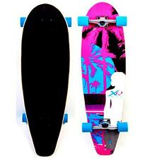 "XQ MAX 46"" PALM TREE LONGBOARD CRUISER LONG SKATEBOARD BEACH DECK BLUE WHEELS"