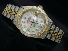 Rolex Datejust Lady 2Tone 14K Gold Steel Watch w/ White MOP Diamond Dial & Bezel