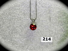 #214# Elegant Genuine 925 Sterling Silver Round Garnet Shaped Pendant & Necklace