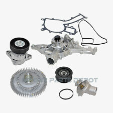 Mercedes Water Pump Fan Clutch Thermostat Tensioner Idler Pulley Kit 112 (5pcs)