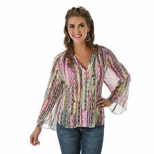 Wrangler Womens ROCK 47- Long Bell Sleeves V-Neck Western Shirt - S - LJ5173M