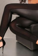 Black Wet Look Leggings Mesh Patchwork - Size UK 8 to 12