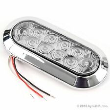 "6"" Oval Red Clear Chrome LED Stop Turn Tail Light Surface Mount Trailer Truck"
