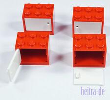 LEGO - 4 x Schrank rot 2x3x2 mit Tür weiss / Cupboard w. Door 4532 4533 NEUWARE