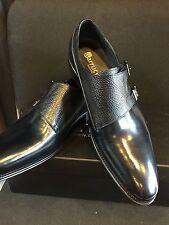 NEW CARRUCCI Double Monk Straps, Navy Blue Men's Dress Leather Shoes Size 9