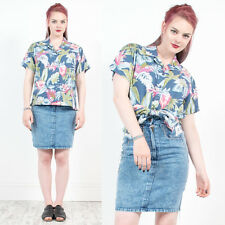 WOMENS VINTAGE 90'S HAWAIIAN SHIRT BLOUSE BLUE FLORAL PATTERN OPEN COLLAR 16