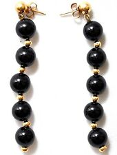 Vintage 14K Solid Gold and Onyx Earrings