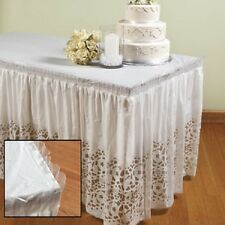 "Lace Plastic Table Skirt 29"" x 14' Wedding Party"