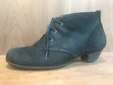 Cobb Hill Aria Lace Up Black Suede Leather Boots Women's Ankle Booties sz 7.5 W