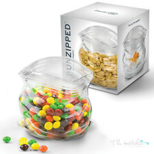 Fred Unzipped Glass Zipper Bag Bowl - Cool Snack Nuts Sweet Jar Server Container