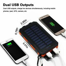 20000mAh Solar Power Bank External Backup Battery Dual USB Port with 2 LED Light