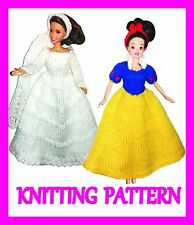 "2 KNITTING PATTERNS FOR BARBIE, DISNEY PRINCESS, 12"" DOLL: SNOW WHITE AND BRIDE"