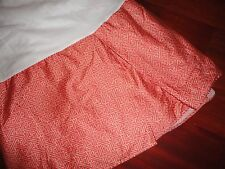 "RALPH LAUREN VILLA CAMELIA FRETWORK RED PAPRIKA TWIN BEDSKIRT SPLIT 14"" DROP"