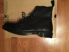 Dr. Martens 8-Tie Hadley Leather Boots Black Noir Size 12 US / 11 UK New In Box