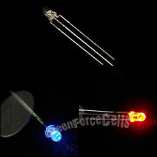 100 x 3mm Dual Bi-Color Red Blue Bright 3-Pin Water Clear bulb Led Common Anode