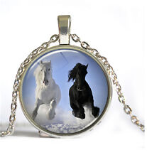 Vintage Horse Cabochon Silver plated Glass Chain Pendant Necklace #D38