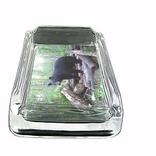 "Black Bear Glass Ashtray D4 4""x3"" Nature, wild, forest, grizzly"