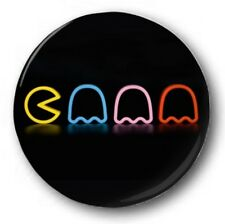 PACMAN NEON - 1 inch / 25mm Button Badge - Novelty Cute Arcade 80's